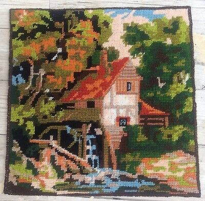 Fab Vtg Completed Twilleys Of Stamford Needlepoint Tapestry The Watermill