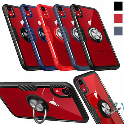 For iPhone XS Max XR X Hybrid Bumper Ring Holder Stand Magnetic Back Case Cover