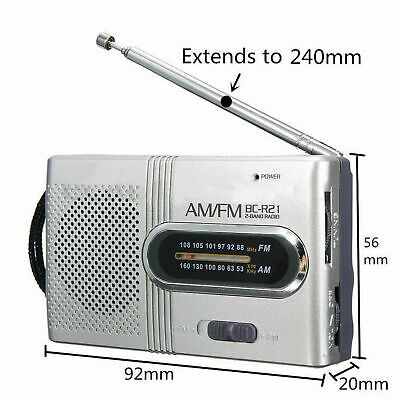 Portable Pocket Mini AM/FM Telescopic Antenna Battery Powered Receiver Radio New