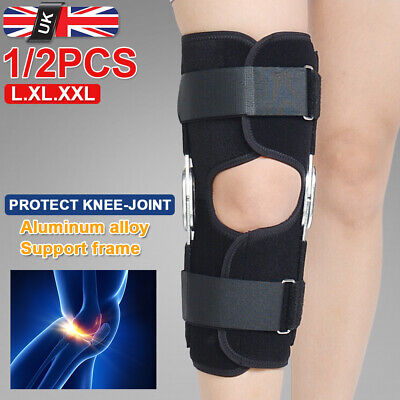 Double Hinged Full Knee Support Brace Open Patella Stabilising Adjustable Strap