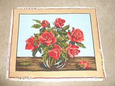 Lovely vintage hand-stitched completed wool tapestry Red Roses in Vase Margot