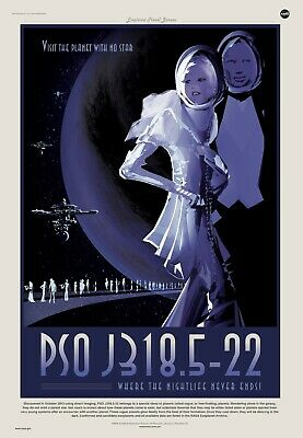 NASA Space Travel Poster - The Planet With No Stars - 24x36