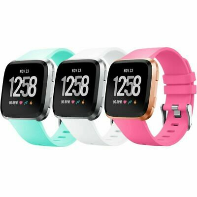 For Fitbit Versa Band Soft Silicone Sport Strap Replacement 3 Pack Adjustable