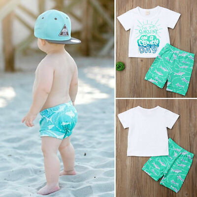US Summer Outfits Clothes Toddler Baby Boy Cute Tops T-shirt Shorts Pants Beach