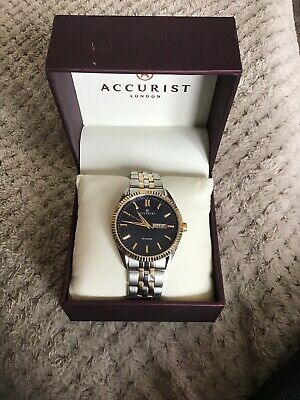 f90a409c2 Accurist Men's Quartz Watch with Black Dial Chronograph Display and Gold  7208