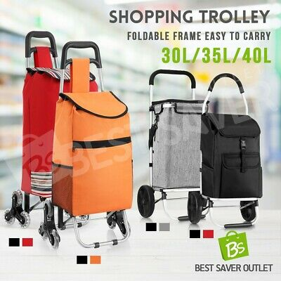 Foldable Shopping Cart Grocery Luggage Basket Storage Bag Trolley Carts Wheels