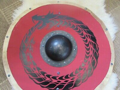 Red and black Jörmungandr Viking shield