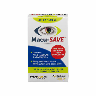 Macu-SAVE Vision Eyesight One-A-Day Meso-Zeaxanthin Food Supplement 30 Capsules