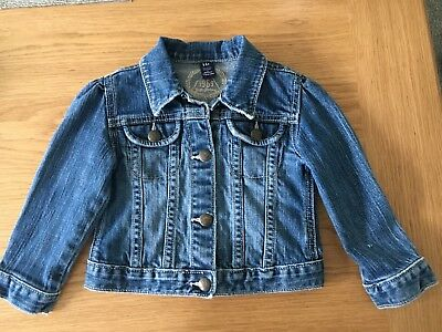 Gap Age 2 Girls Blue Soft Stretch Denim Jean Jacket Good Condition