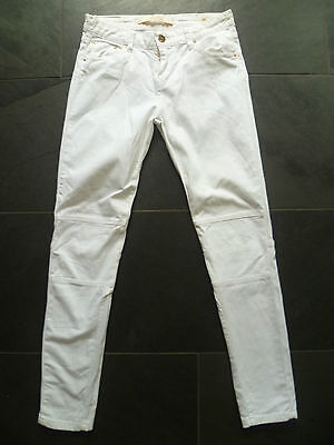 Zara Uk8 L27 Ladies White Stretch Denim Skinny Jeans Slim Fit Good Condition