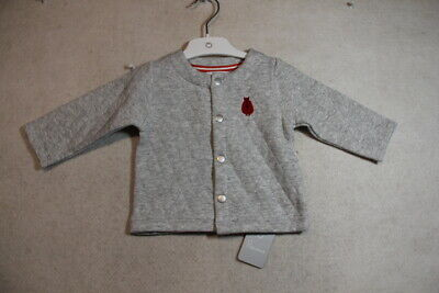 Baby Boy Size 00,0 Plum Winter Grey Quilted Jacket NWT