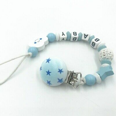 Personalised Name Wooden Baby dummy Clip Crochet beads Star pacifier clip