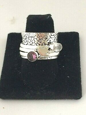 .925 STERLING SILVER WIDE CIGAR BAND AMETHYST TRIBAL SPINNER RING