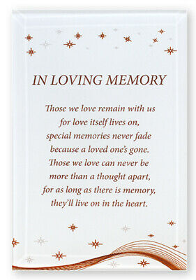 In Loving Memory Free Standing Glass Plaque Words and Sentiment Memorial Gift
