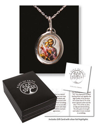 """925 Sterling Silver Necklace Saint Joseph Enamelled Picture 18"""" Chain 3/4 Medal"""