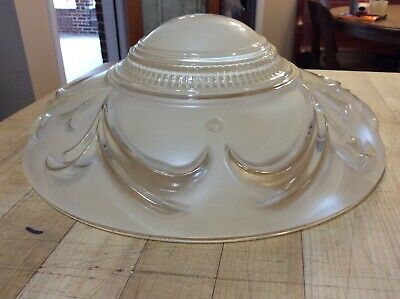 Vintage Antique 3 Chain Mount Clear / Peach Glass Ceiling Light Fixture Shade