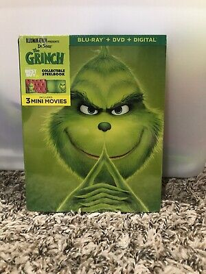 Illumination Presents: Dr. Seuss' The Grinch Blu-ray+DVD+Digital Steelbook NEW