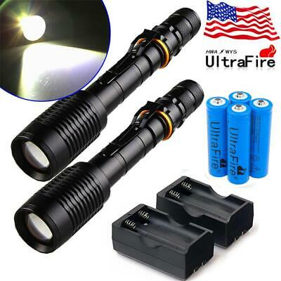 Tactical 150000LM T6 LED Zoomable Police Torch Flashlight +18650 Battery+Charger