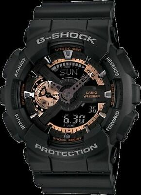 Casio G-Shock GA110RG-1A Mens Black and Rose Gold Resin Band Watch New with Tags