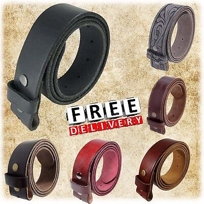 Cowhide Leather Belt Strap Snap Genuine Full Grain Closures Assorted Designs