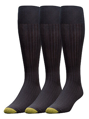 Gold Toe Men's Canterbury Over The Calf Cotton Crew Dress Socks 3-Pack 794h