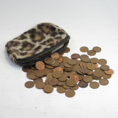 Lot of British 1/2 Halfpenny New Penny Coins in Vintage Leopard Print Purse