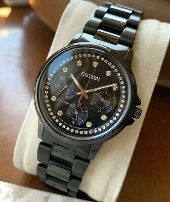 Citizen Eco-Drive Women's Crystal Accent Watch Day Date Black Dial FD2047-58E WR