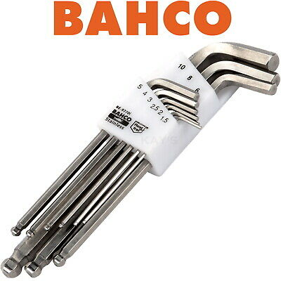 BAHCO 9 PIECE STAINLESS STEEL HEX BALL END ALLEN KEY SET 1.5mm-10mm, BE-97770i