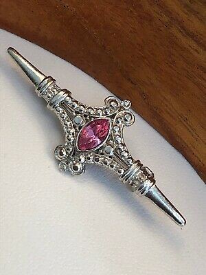 Vintage Estate Art Deco Pale Pink Rhinestone Bar Brooch Pin Silver 3""