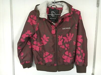 Salt Rock Age 13 Girls Brown & Pink Floral Padded Jacket With Hood Good Con