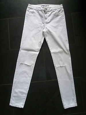 Zara Uk8 L28 Ladies White Stretch Denim Skinny Jeans Ripped Knees Good Condition