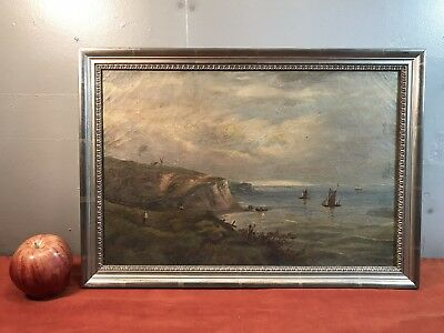 Antique Oil Painting Seascape Signed H M D?