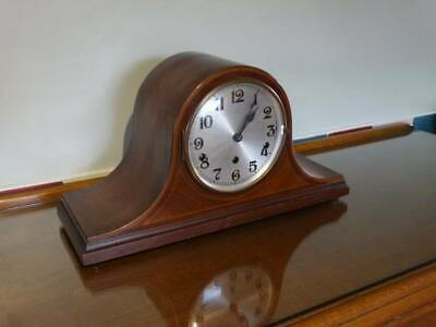 MAHOGANY CASED NAPOLEON HAT MANTEL CLOCK, With PENDULUM Req Repair.