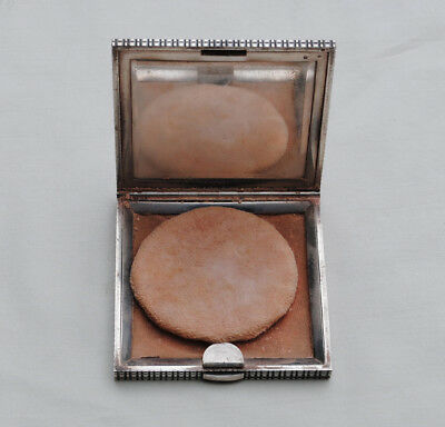 POUDRIER ARGENT MASSIF  ART DECO Sterling Silver Powder Compact