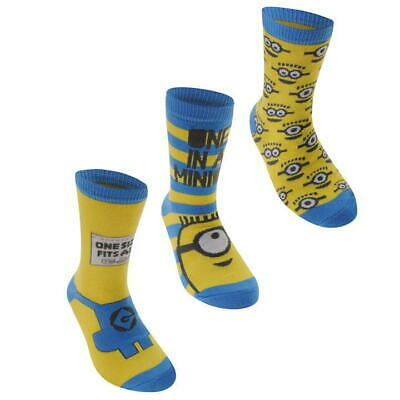 3 Pack Minions Crew Socks Boys Size C8-13 (Free Post)
