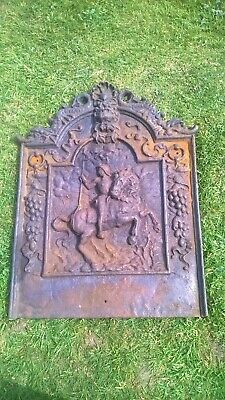 Antique Cast Iron Fire Back.Plate.Foot.Inglenook.Country.Manor.Estate.House