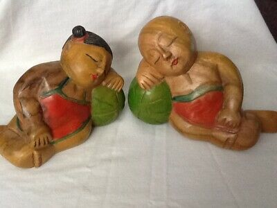 Chinese Wooden Hand Carved Boy And Girl Sleeping Buddha Sculptures""