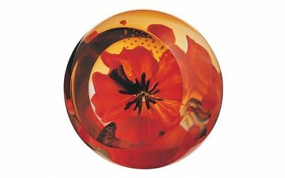 Caithness Glass Red Poppy Paperweight 6cm by 6cm