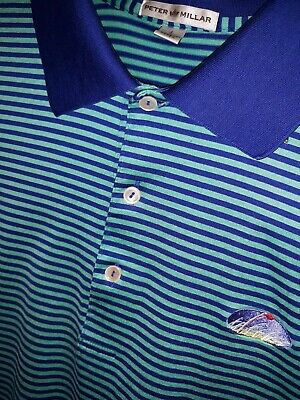 Mens PETER MILLAR Golf Polo Striped Shirt green blue size L embroidered flag