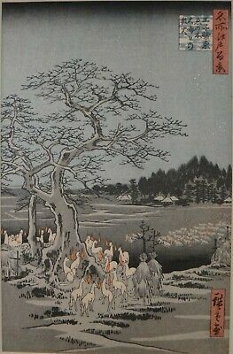 Original Utagawa Hiroshige Woodblock - New Year's Eve Foxfires at Changing Tree