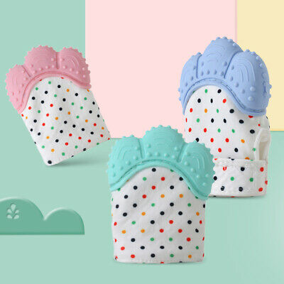 Baby Silicone Mitts Teething Mitten Glove Teethers Candy Wrapper Sound Toy Gifts