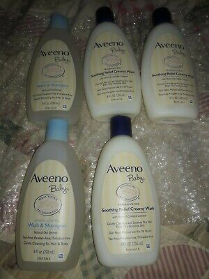 5- New Aveeno Baby Soothing Relief Creamy Wash  & Baby Wash And Shampoo