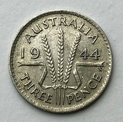 Dated : 1944 - Silver Coin - Australia - Threepence - 3d - King George VI