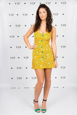 60s vintage mustard yellow daisy print button front mini dress Mod Scooter gogo
