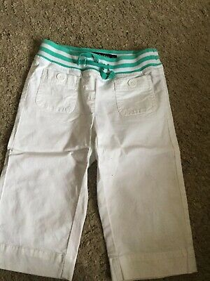 Mini Boden Girls White Cropped Trousers Age 6 Good Condition...Capri Length