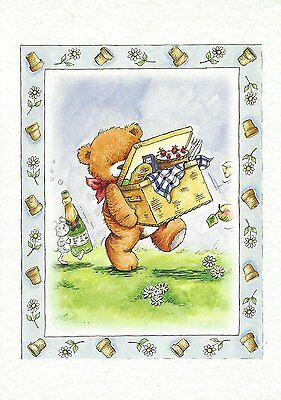 Carte Anniversaire Cadeau Petit mot Ourson Birthday Present Card little Bear #3