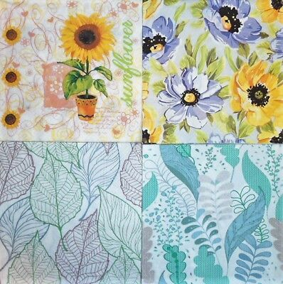 4 x Single Paper Napkins Field Flowers for Decoupage Crafting and Table 137