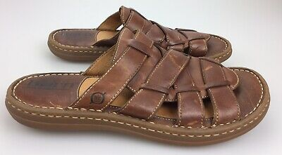 e2f3ef53b995 Born Brown Leather Fisherman Slides Slip On Casual Sandals Men s 8 41 Woven