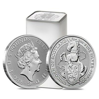 Roll of 10 - 2018 Great Britain 2 oz Silver Queen's Beasts Unicorn Coin BU