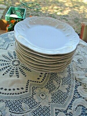"""Lenox White French Perle Scalloped Beaded Embossed 8 Luncheon Plates 9"""""""
